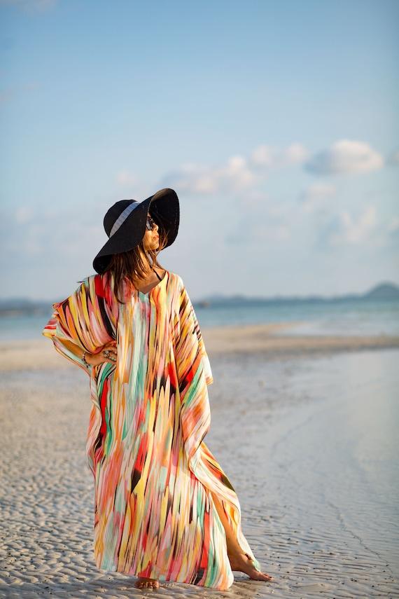 Maxi Size dress Sleeve Kaftan Dress Koh Chiffon Long Wear color Up Split One Beautiful Caftan Pastel Multi Resort Beach Tan Cover qwfvR
