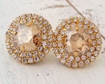 Champagne earrings, champagne crystal stud earrings, champagne Bridal earrings, champagne Bridesmaids gift, Swarovski large stud earrings