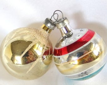 2 Feather Tree Ornaments, Glass Christmas Ornaments with Stripes and Snowcap