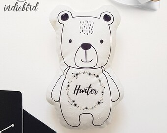Personalised Bear Plush Rattle or Pillow, baby rattle, plush toy, Bear pillow, Stars, keepsake, Baby shower gift.