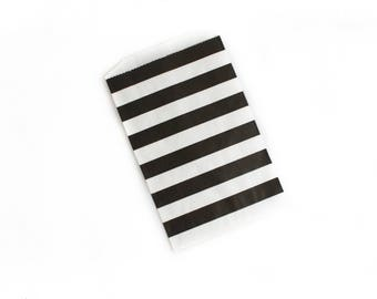 Black and White Striped Bags // Black and White Favor Bags // Treat Bags // Flat Paper Bags 7.5x5 (Set of 25)