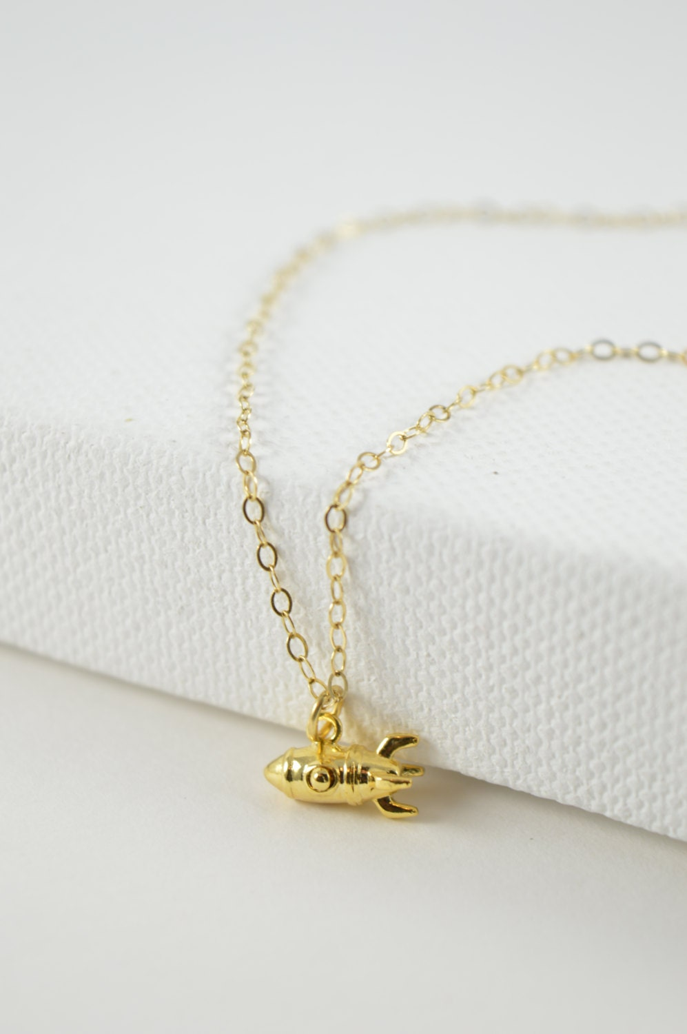 Rocket Charm Necklace, Elon Musk, Mars Rocket, Small Gold Outer ...