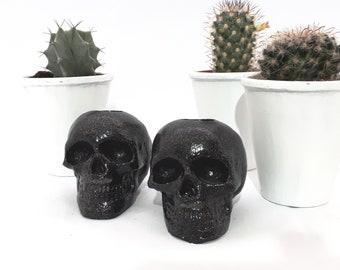 Skulls, Skull candle Holders, Skulls, Candles, Alternative Decor, Glitter Skulls, Plaster Skulls, Home Decor, Gothic Home Decor