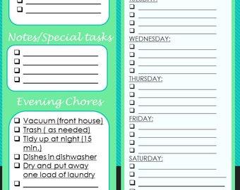daily chore list template