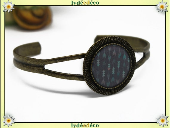 Bracelet resin gray Chevron pink green pastel bronze brass adjustable 20 mm