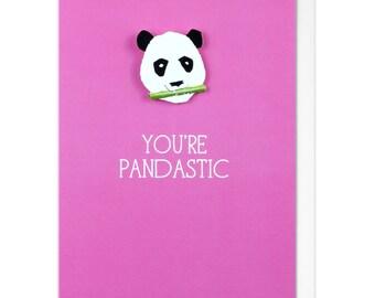 You're Pandastic Pink Panda Greeting Card - Personalised Panda Graduation Greeting Card