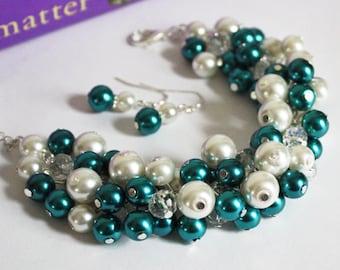 Teal Bracelet Teal White Cluster Bracelet Bridesmaids Gift Bridesmaids Chunky Bracelet Teal and White Bracelet Earrings