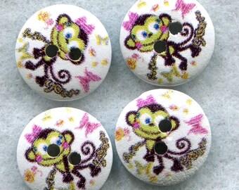 Monkey Buttons Decorative Wooden Buttons 15mm (5/8 inch) Set of 8 /BT230