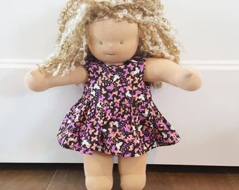 Waldorf Doll Clothes - 14 to 16 inch - Butterflies Dress