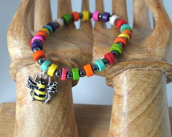 Colourful Dyed Howlite and Hematite Beaded Bracelet with Metal Bumblebee Charm, with gift packaging, on elastic