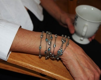Womens Sterling Silver Chain and Turquoise Bracelet | The Cleopatra