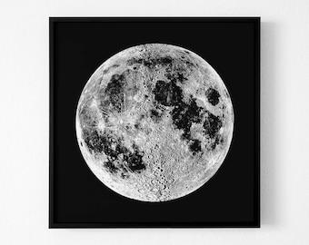 Black and White Moon Print,Moon poster moon phases moon poster moon wall art print decor print minimalist print bedroom decor night