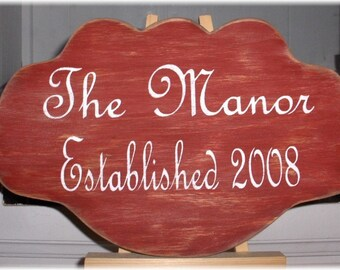 Custom Personalized Sign With Your Family Name and Established Date Red Wood Sign