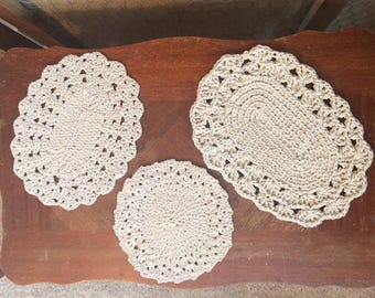 Set of 3 Crocheted Trivets/Hot Pads