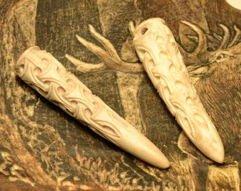 VIKING ART STYLE knotted carved pednant deer antler Vikings Norse necklace Bone Jewelry Jewellery Warrior Talisman Amulet Charm Re-enactment