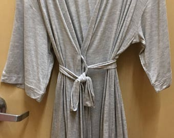 Gray Robe  3/4 length Valentine's Day Special  ***FREE EMBROIDERY PERSONALIZATION of a name or business name