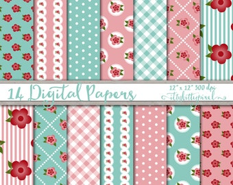 Teal Pink Flower Paper Shabby Chic Digital Paper Pack Floral Country Cottage Floral Flowers Rustic Scrapbooking Printable Paper Scrapbook