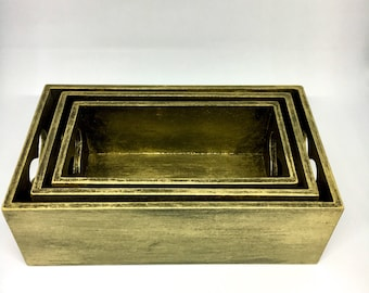 Wooden trinket trays, black and gold desk organisers, hand painted trays