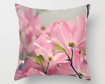 Throw Pillow Case Cover, Spring Pink Dogwood Flowers Nature Photography by RDelean