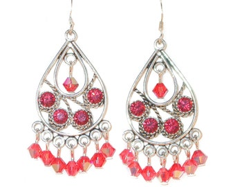 SWAROVSKI Elements CRYSTAL Chandelier Earrings Silver PADPARADSCHA Rosy Coral