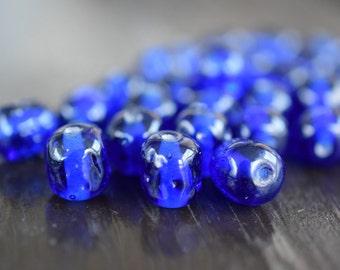 10mm Vintage Blue Cherry Brand Baroque Miriam Haskell Glass Beads, 20pcs