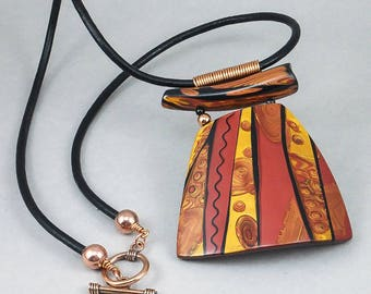 Handcrafted Necklace - Black Gold Copper Asian Inlay Choker No. 171