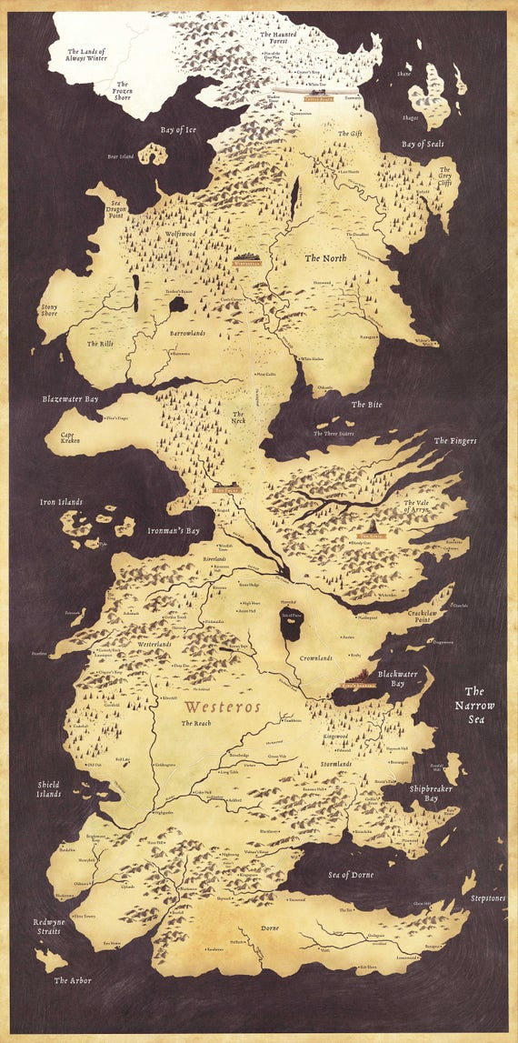 Game of thrones westeros world map tv art wall poster print small medium large gumiabroncs Images