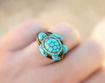 Turtle Turquoise Ring. Turquoise Ring. Bohemian Jewelry, To Order. Blue, Aqua Ocean, Sea, Brown, Boho Rings, Animal Jewelry Rings, Turquoise