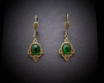 Emerald Earrings Art Deco Antiqued Brass Emerald Glass Cabochons FREE SHIPPING USA