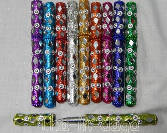 10 pens glitter assortment 100% handicraft India 1 Bollywood Kitsch