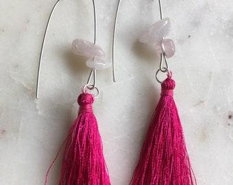 Tassel earrings, rose quartz earrings, silver earrings