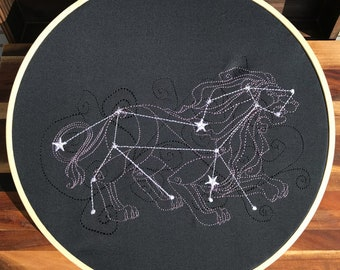Leo Constellation Embroidery Hoop Art