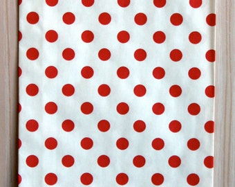 Red Polka Dot Goody Bags / Favor Bags / Treat Bags (20) - 6.25 x 9.25 inches