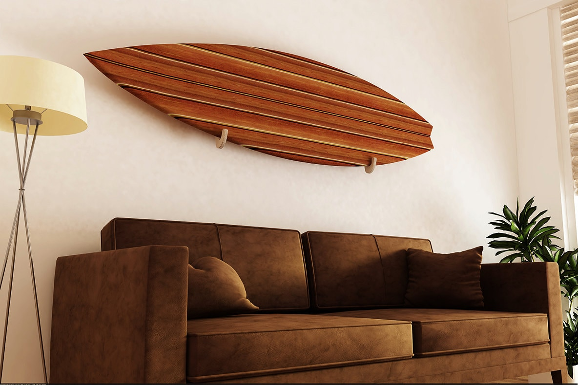 Voorkeur Surfboard Rack. Single board wall display. handgemaakt houten #TE86