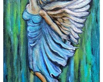 Muriel, An Ascending Angel Original Fine Art 8 by 10 print  by Charlotte Phillips