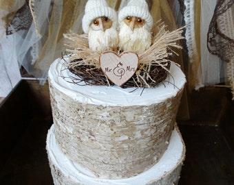 Owls-winter wedding-wedding cake topper-barn owls-owl lover-woodland-barn wedding-rustic--fall-snow owls