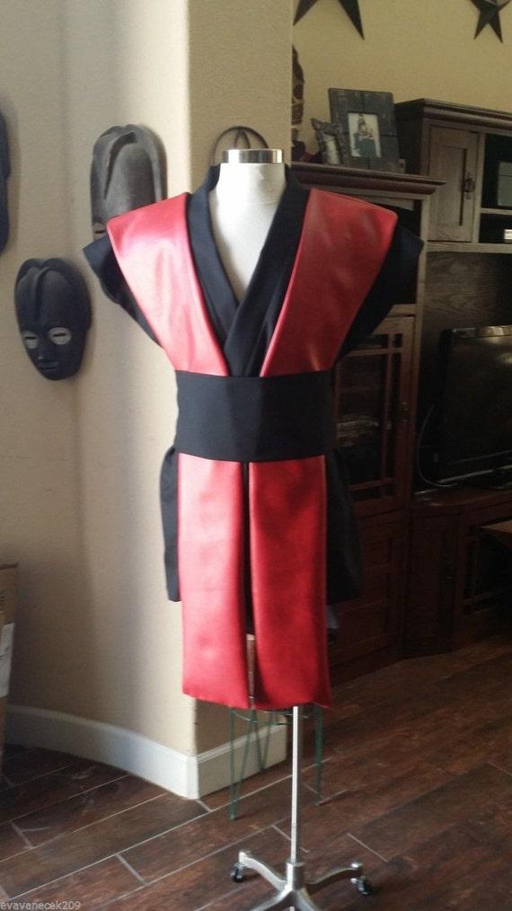 Cosplay sleeveless black tunic  pleather tabards & sash 4 pcs costume