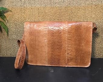 Vintage 1990's Beige Brown Snake Skin Shoulder Bag Purse / Clutch