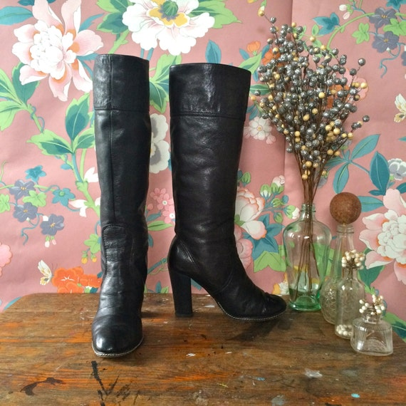 Charles Style Size Black Heel David Vintage 90s Disco Charles Charles B Stacked 5 by Boots David Leather qvOvfw0T