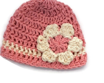 """Crochet cotton beanie """"kidlid"""" in pink with daisy flower for newborn"""