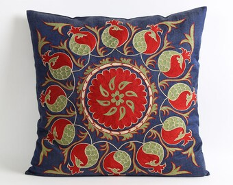 Navy blue suzani pillow cover, hand embroidery silk pillow