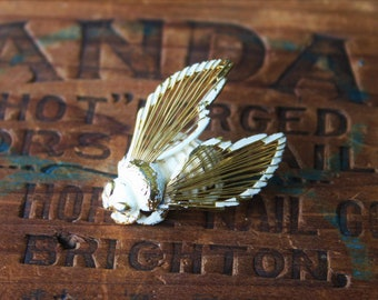 Bug Brooch, Vintage White and Gold Monet Insect Brooch Pin