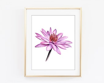 Lotus Flower Art Print, Watercolor Lotus Flower Painting, Pink Flower Wall Art, Pink Bedroom Decor, Pink Home Decor, Botanical Art T14