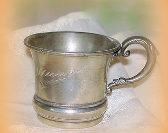 Antique Child's Cup Silver Plated By Warren Silver Plate Co. Early 1900's Collectible Newborn, Christening, Baptism Gift