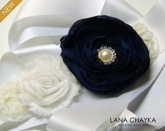 Navy Blue White Sash Flower Girl Sash Blue White Rustic Sash Double Faced Satin Belt Deep Blue Floral Wedding Sash Blue White Dress Sash