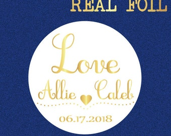 Personalized wedding stickers, wedding favor stickers,  love stickers, foil stickers, wedding envelope seal, Bridal shower stickers