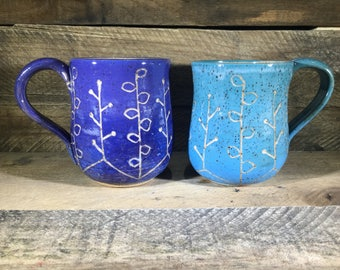 Carved Ceramic Mug / Teacup / Hand-painted / Blue or Purple Ombre- READY TO SHIP