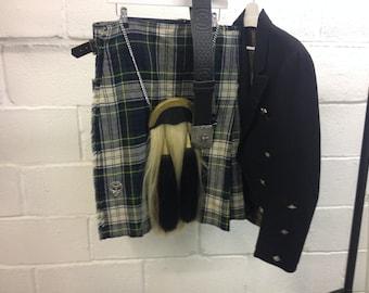 Vintage Kilt, horse hair sporran, jacket and belt