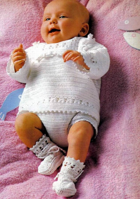 CROCHET PATTERN Baby Boy christening Outfit Pure White