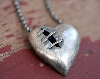 Sutured Heart Necklace Silver Dark Finish Free Domestic Shipping